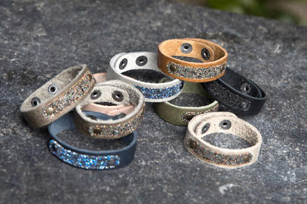 Moesss Swarovski lederen armband met swarovski