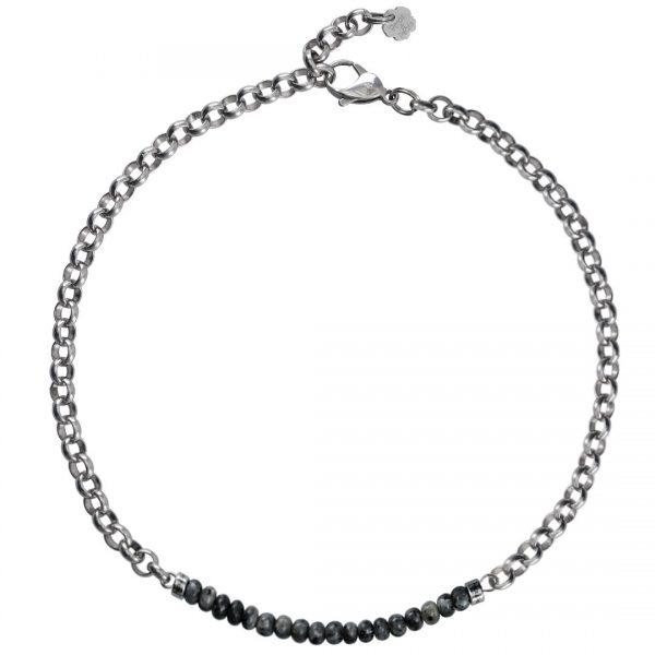 Ketting necklace gemstone choker Larvikite