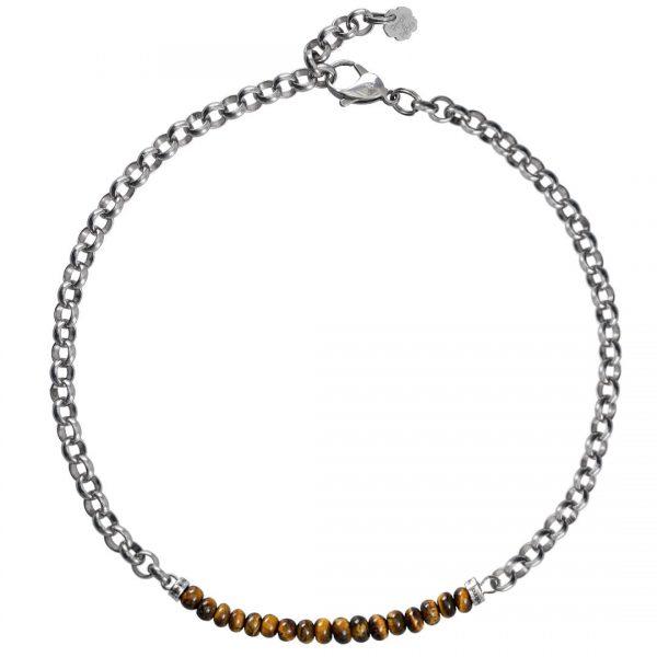 Ketting necklace gemstone choker Tiger Eye