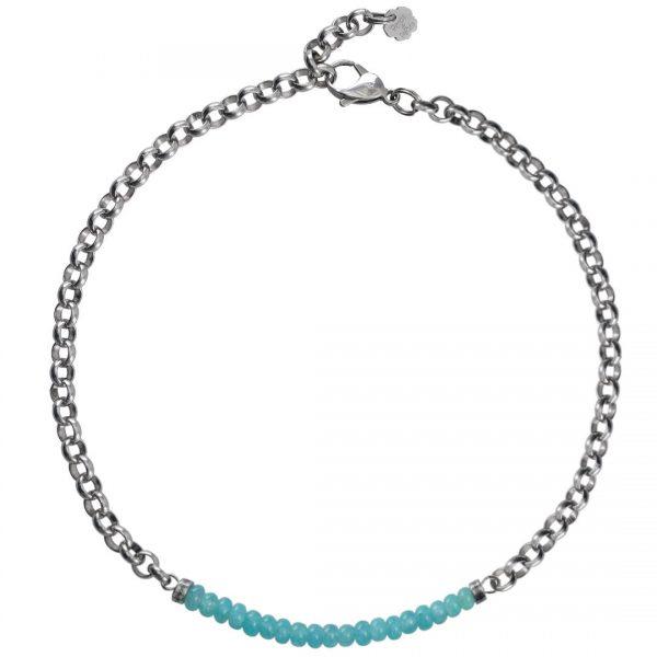 Ketting necklace gemstone choker Aquamarijn
