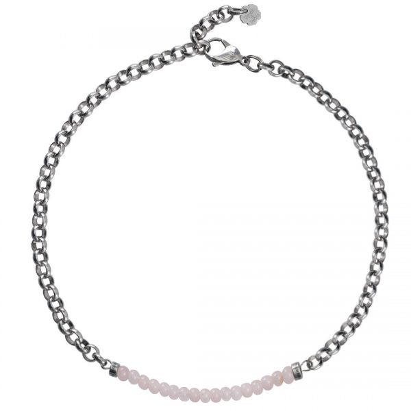 Ketting necklace gemstone choker Rosekwarts