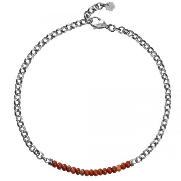 Ketting necklace gemstone choker Red Jaspis