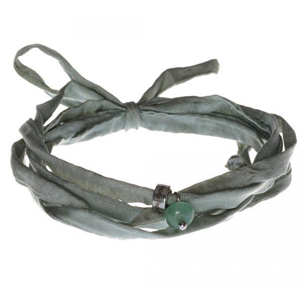 Silk Bracelet met Green Aventurine Silk Bracelet met Aventurine bedel van PimpsandPearls