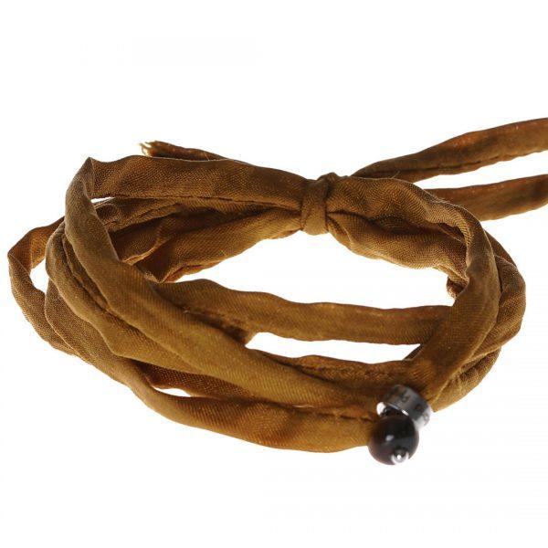 Silk Bracelet met Tiger Eye edelsteen bedel van PimpsandPearls