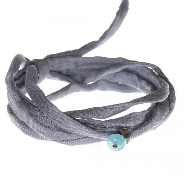 Silk Bracelet met Aquamarijn edelsteen bedel van PimpsandPearls