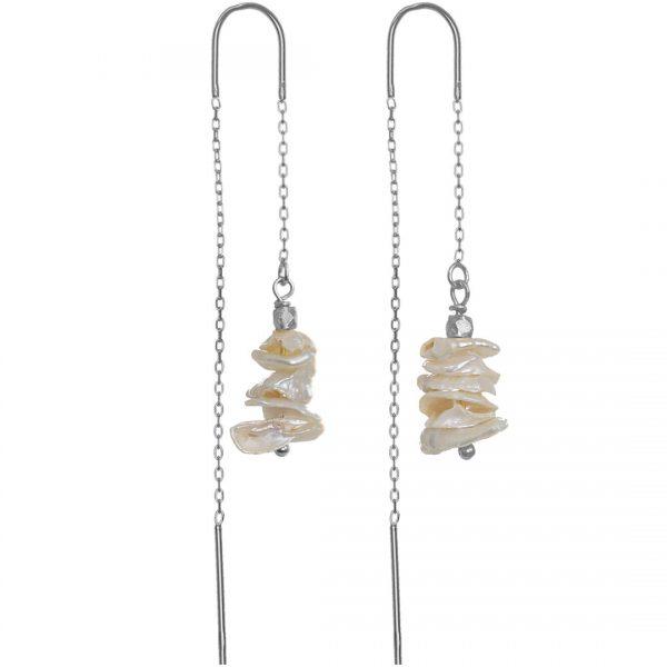Ear Fashion 12 Pearl Tree Silver
