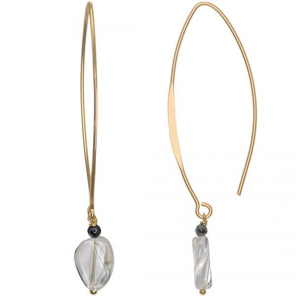 Clear Cristal Quartz V Hook Gold
