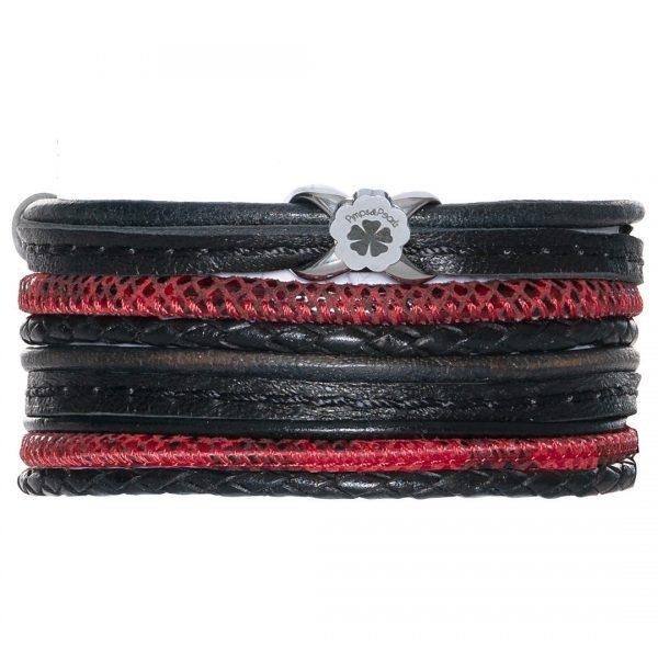 Handgemaakte lederen armband met schuifbedel