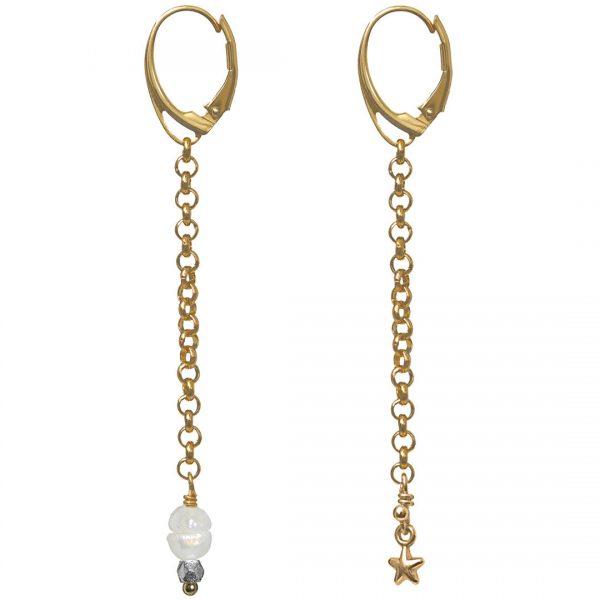 Ear Fashion Stars Pearl Gold