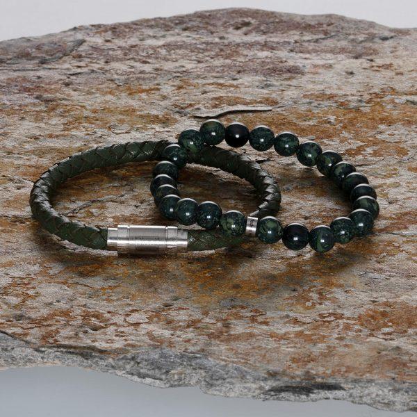 Handgemaakte heren armbanden set van edelstenen en leder