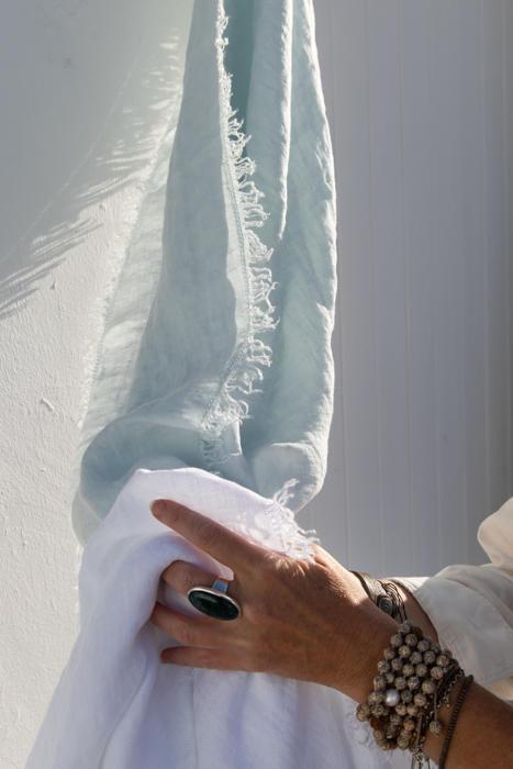 Linnen sjaal Blue, NEW met style lus PimpsandPearls