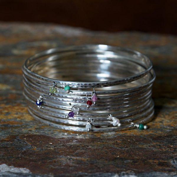 Silver bangle collection