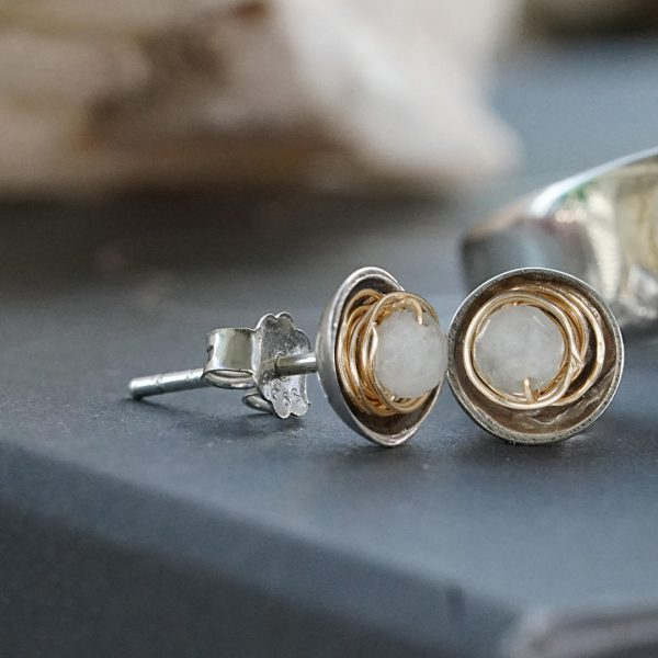 Rosa 03 Pearl Gold Silver oorbel