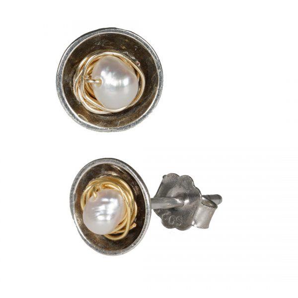 722 Rosa 06 Pearl Silver oorbel