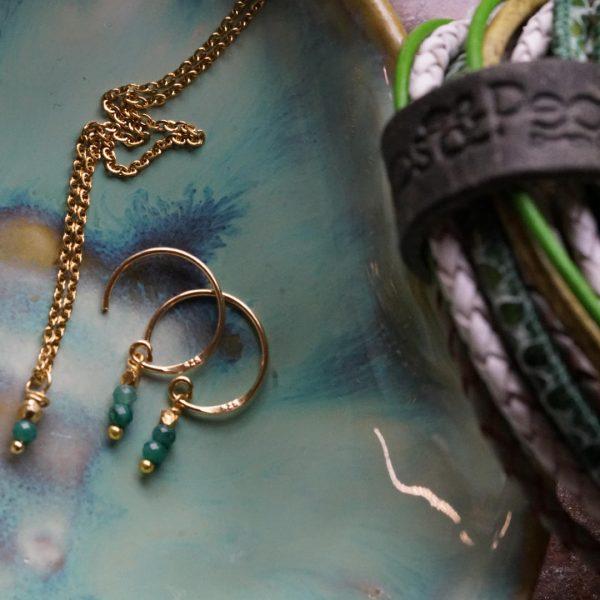 Birth Stone set gold Smaragd Emerald