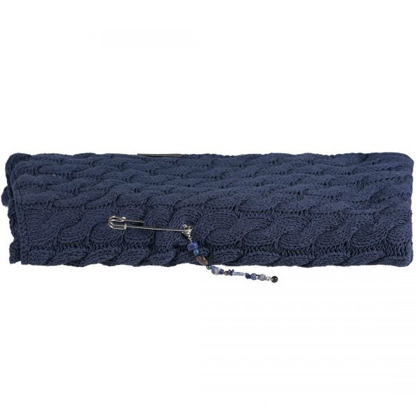 Gebreide recycled Denim Sjaal met Japa Jewel Brosh