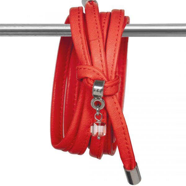 Lederen rode ketting met Swarovski bedel