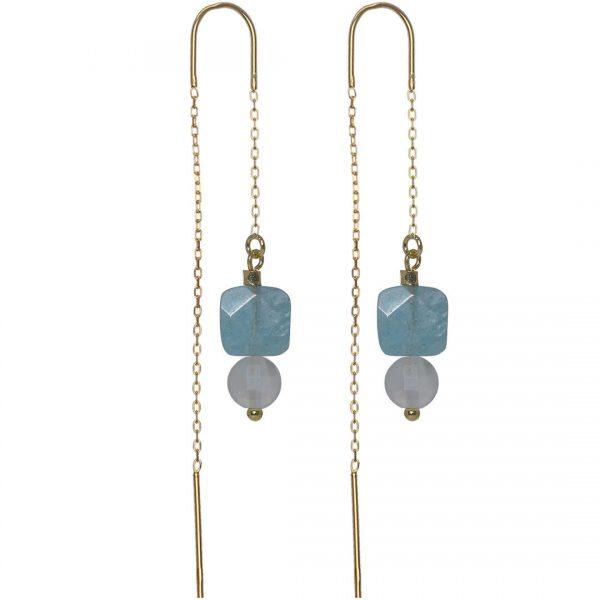 Ear Fashion Duo Gems Aquamarine Rose Quartz PimpsandPearls