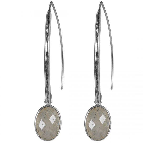 Silver Hook Earring Oval Moonstone