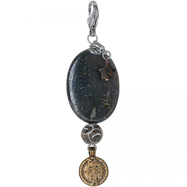 Handgemaakte edelsteen bedel Black Pyrite