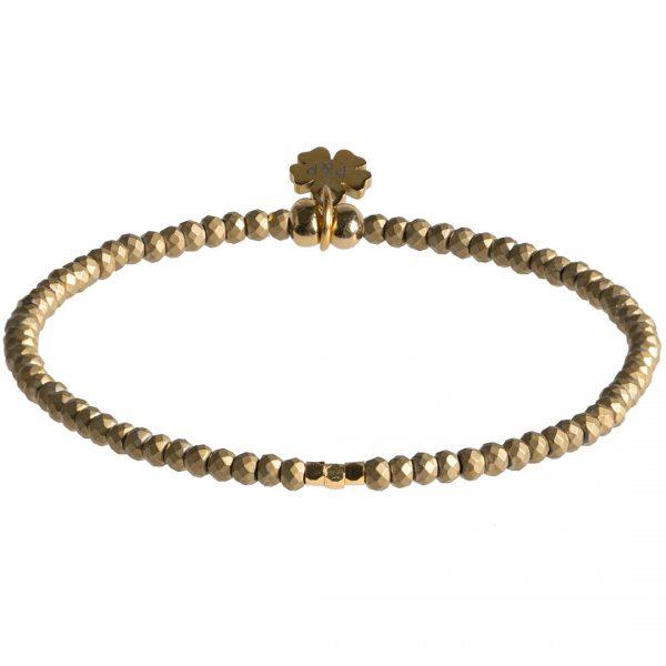 Handgemaakte armband van Hematiet edelsteen en gouden kralen