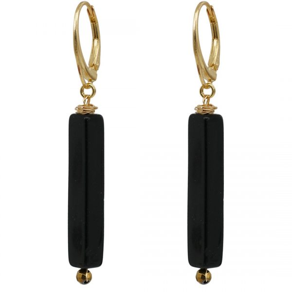 Ear Fashion Square Onyx Gold PimpsandPearls