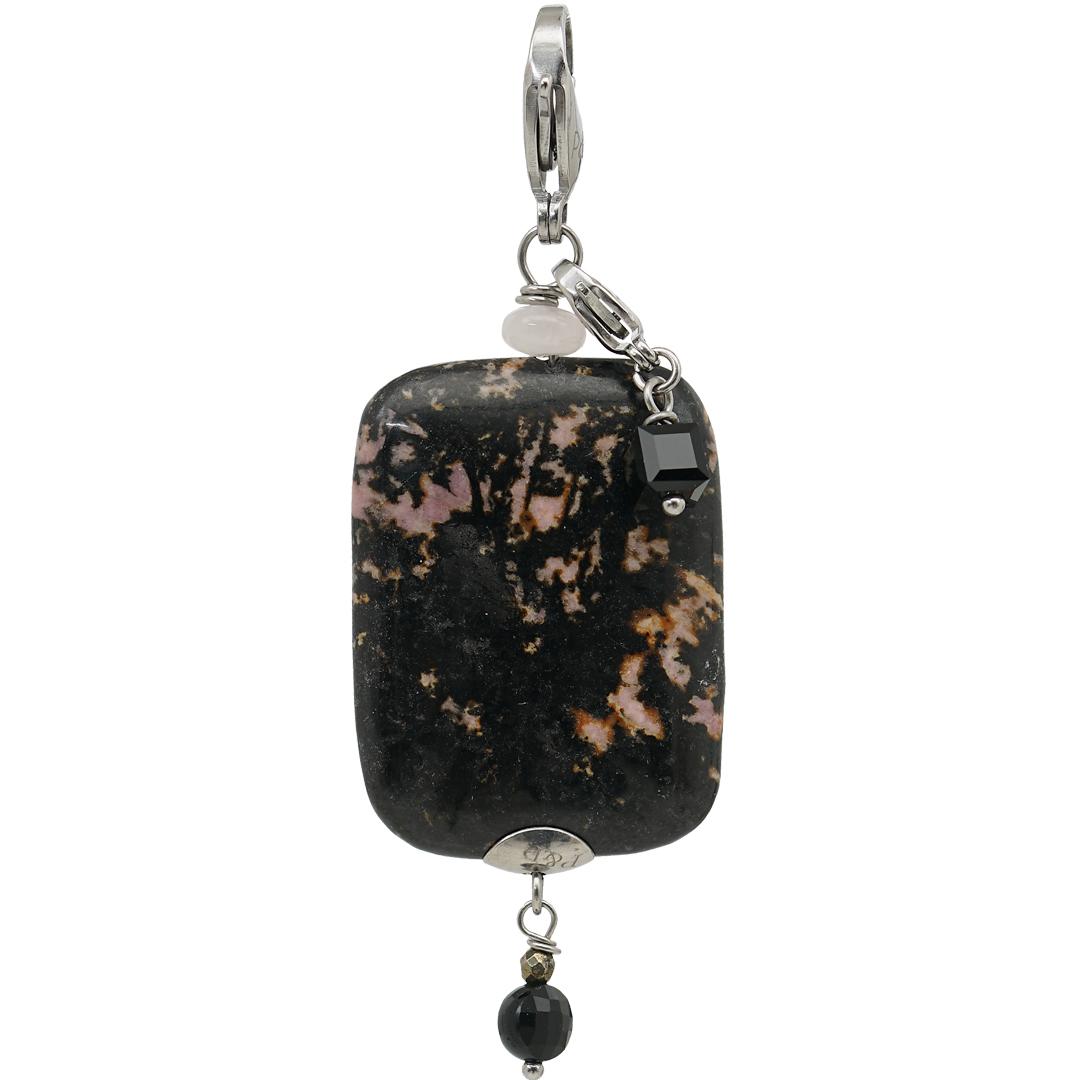 Handgemaakte edelsteen bedel hanger Rhodonite