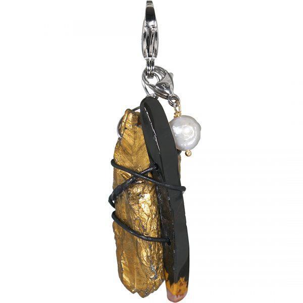 Handgemaakte edelsteen bedel hanger Clear Cristal Gold