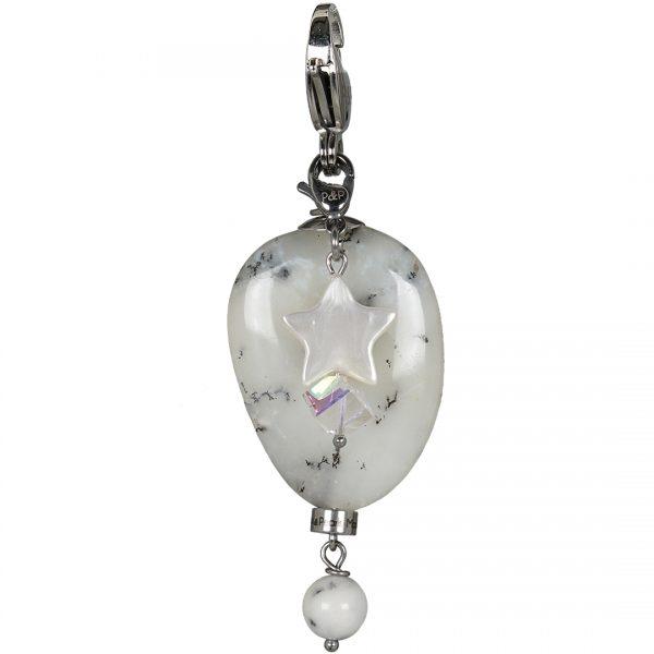 Handgemaakte edelsteen bedel Dendrite Opal