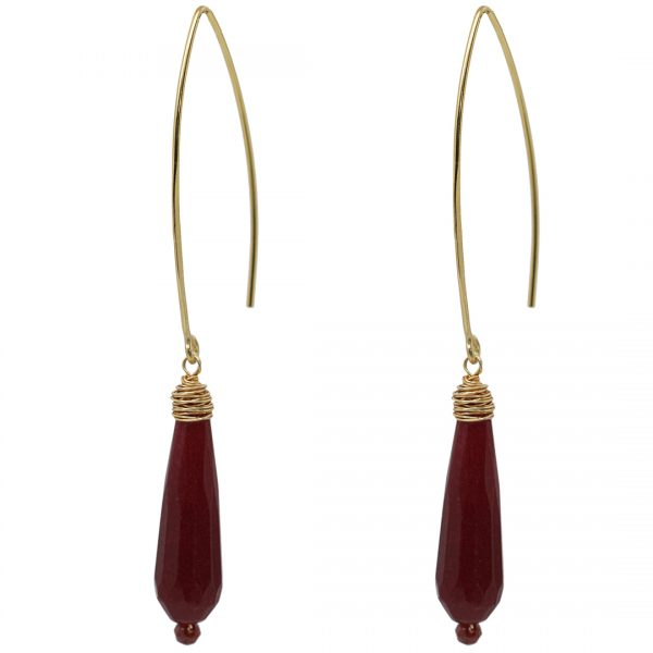 Ear Fashion Red Jade Party Gold PimpsandPearls