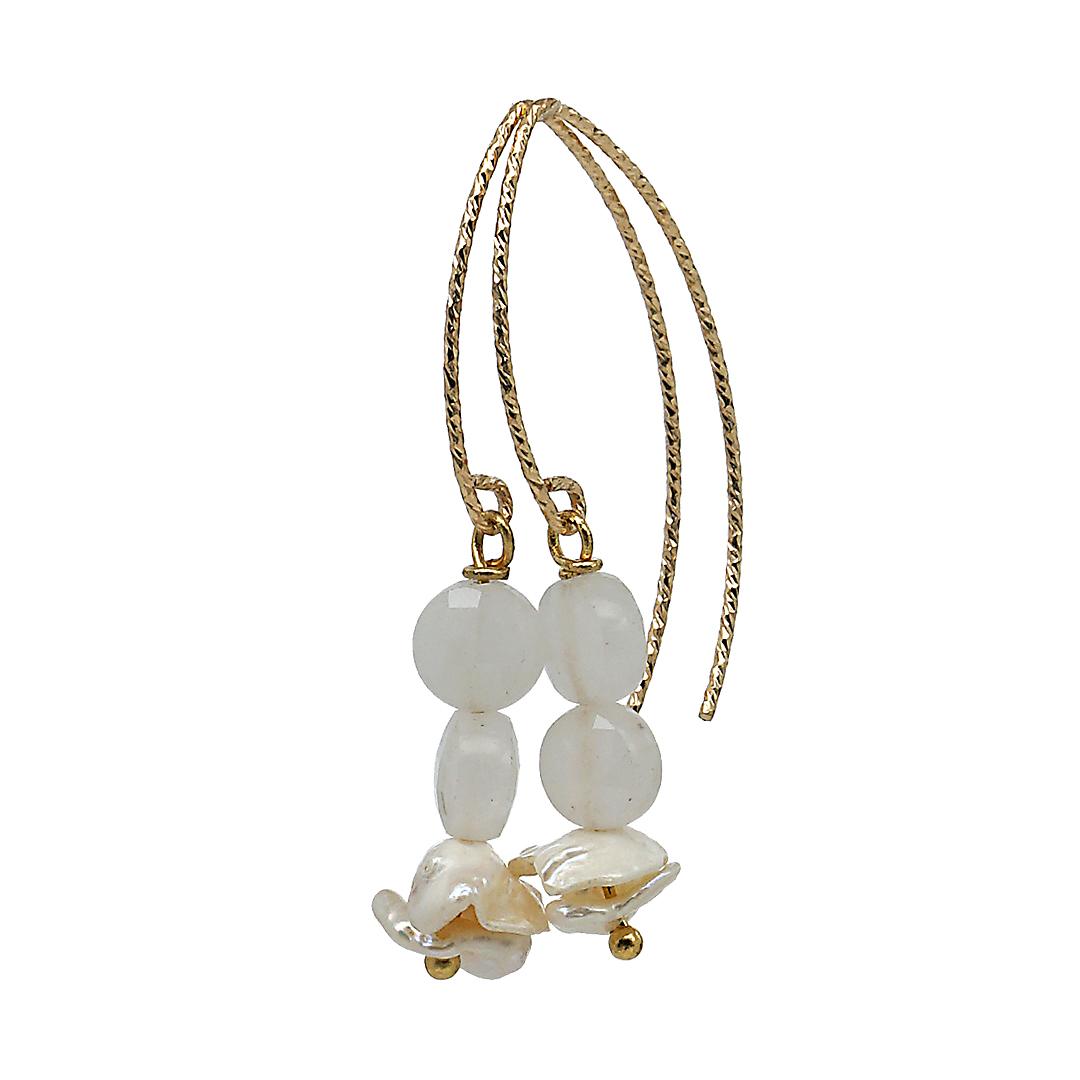 Fruity Pearls oorbellen Rose Quartz Party Gold