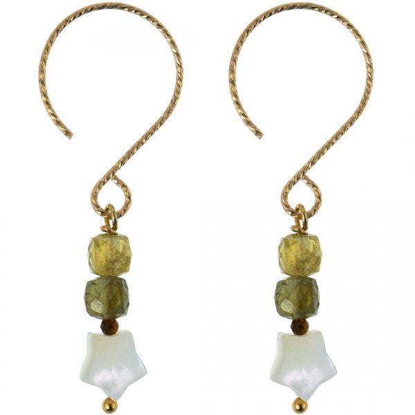Handgemaakte oorbellen van Green Garnet Party Gold van PimpsandPearls