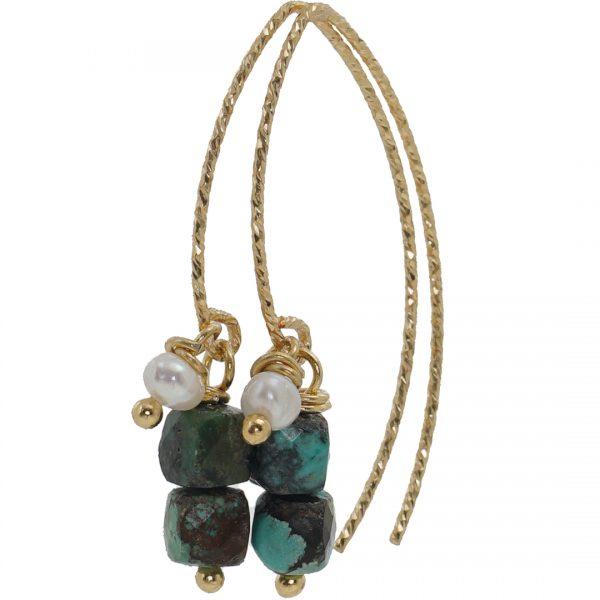 Handgemaakte oorbellen van Turquoise Pearls Party Gold van PimpsandPearls