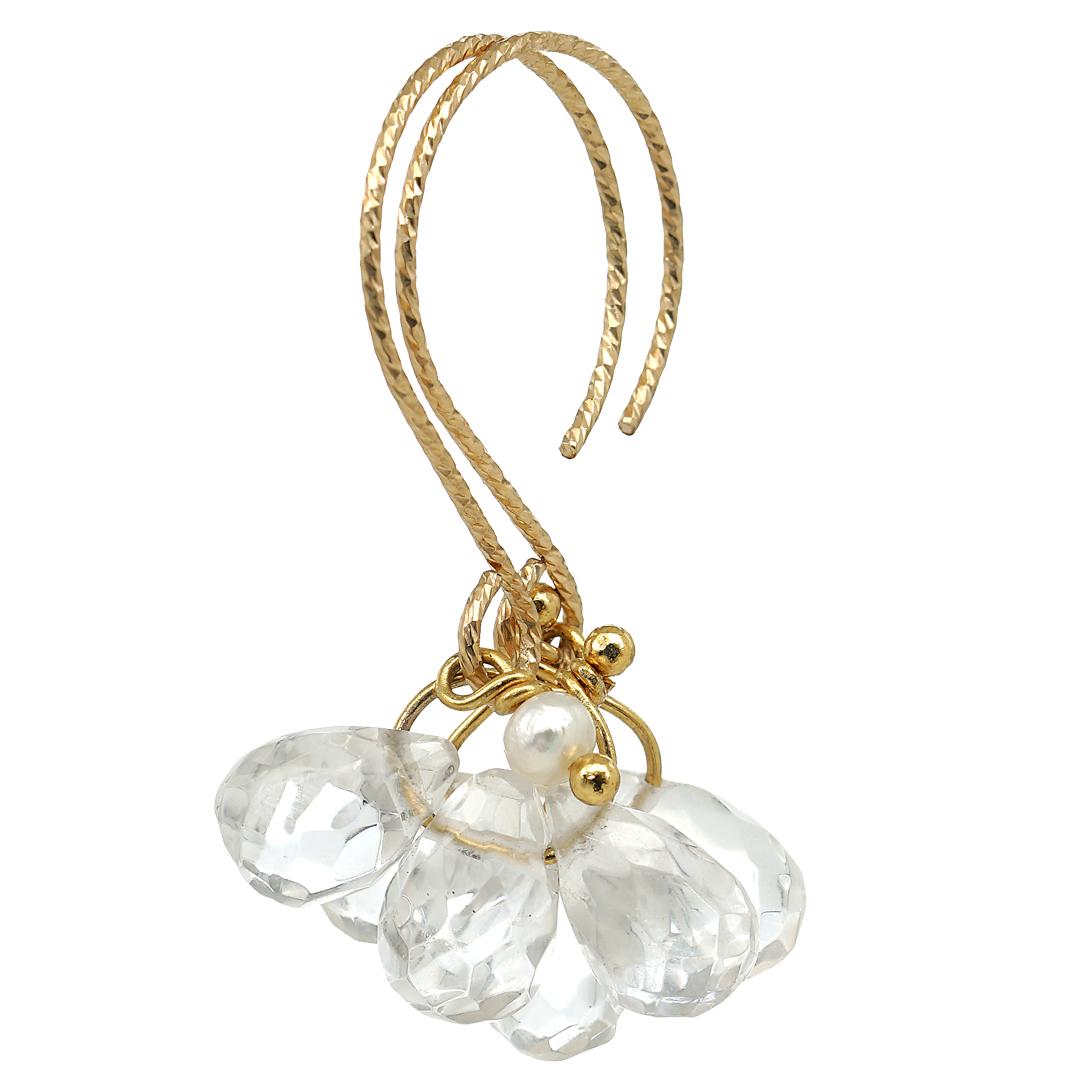 Handgemaakte oorbellen van Clear Cristal Grapes Gold van PimpsandPearls