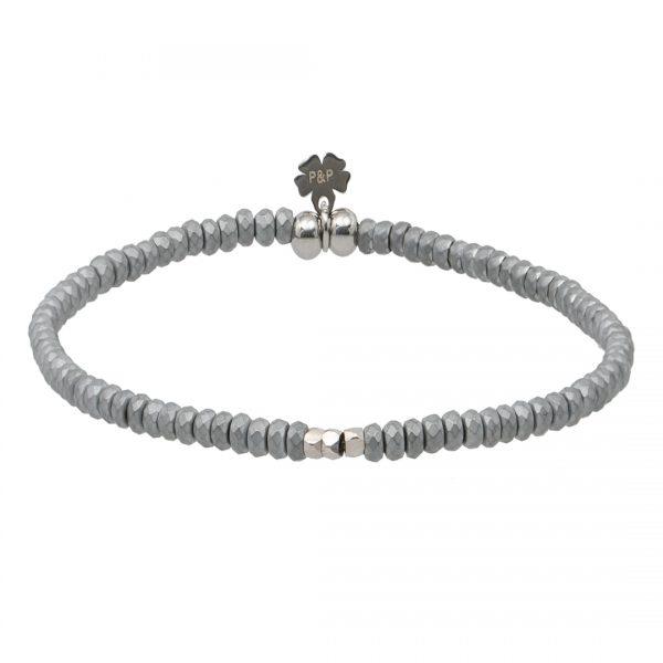 Handgemaakte armband van edelstenen Mat Silver