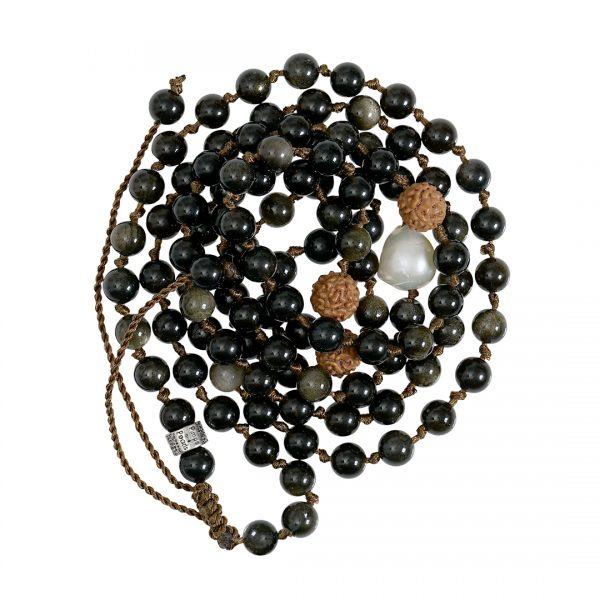 Edelsteen ketting zwart Goud Obsidiaan Saya Mala