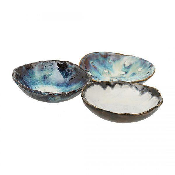 Schaaltjes Set Blauw Bruin Vintage