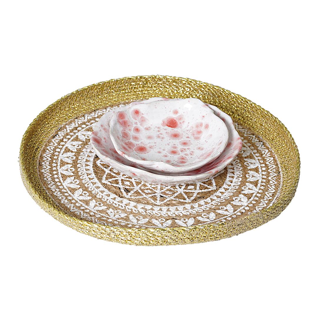 Schaaltjes Set 10 Wit Roze Dienblad