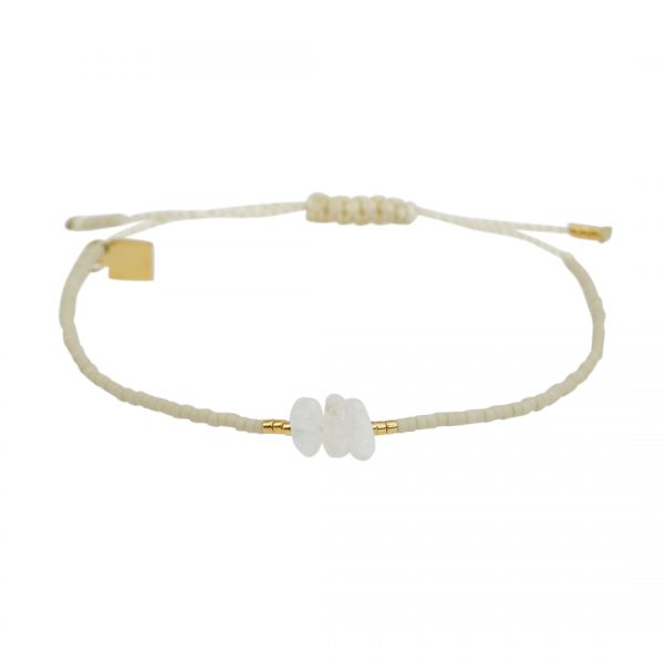 Miyuki fijne armband wit Maansteen Presents and Pearls Pull
