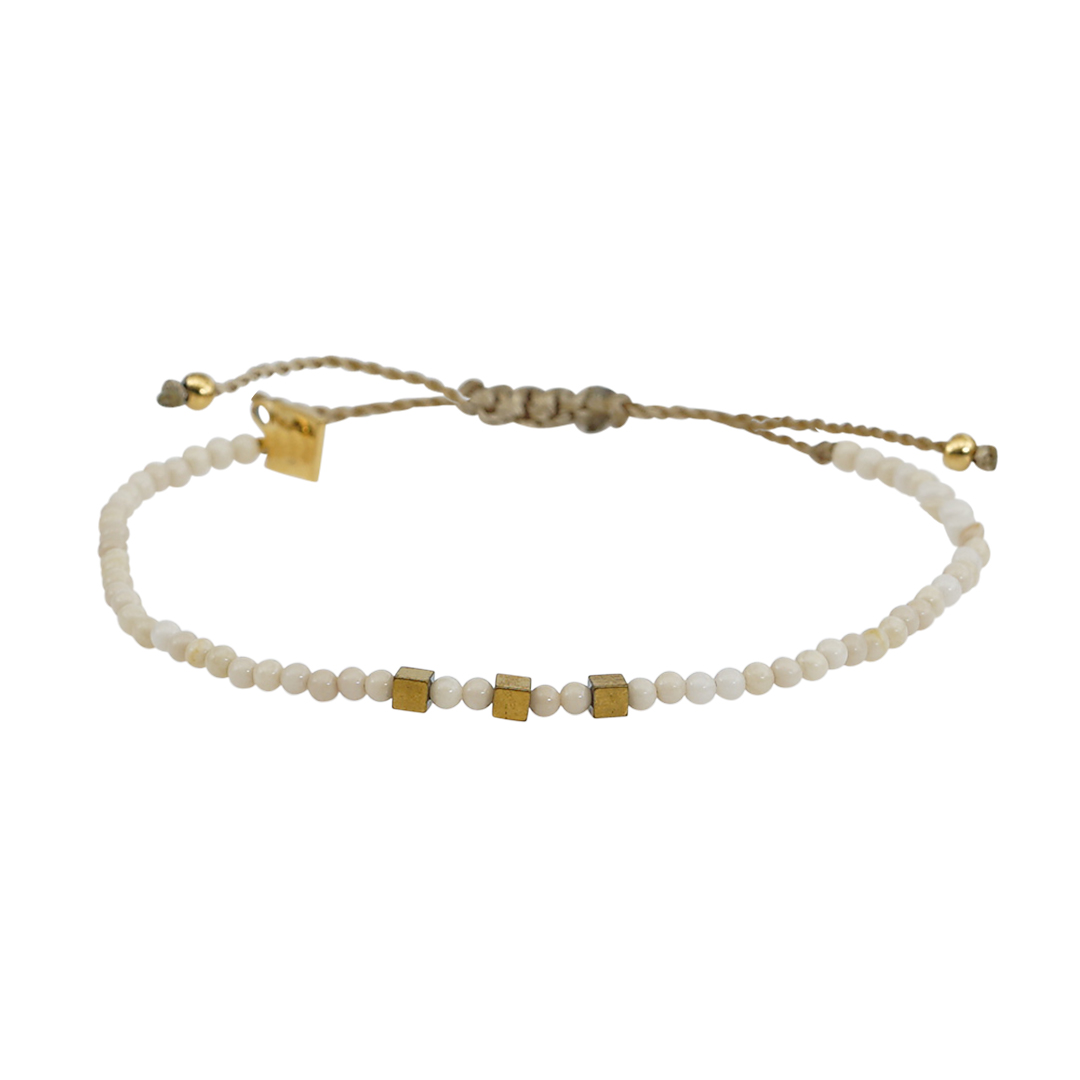 Edelsteen fijne armband wit Riverstone Pull Presents and Pearls