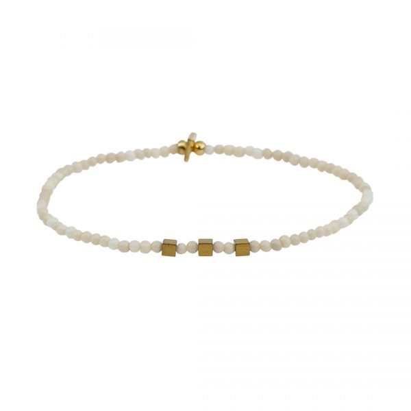 Edelsteen fijne armband wit Riverstone Presents and Pearls