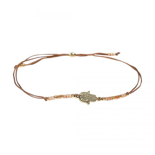 Miyuki fijne armband oranje Hamsa Presents and Pearls