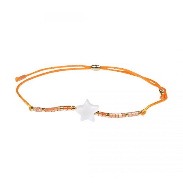 Miyuki fijne armband oranje Ster Presents and Pearls
