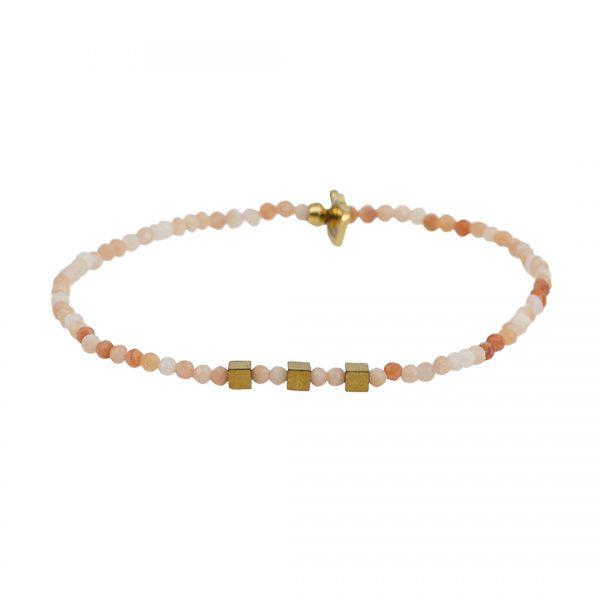 Edelsteen fijne armband oranje Zonnesteen Presents and Pearls