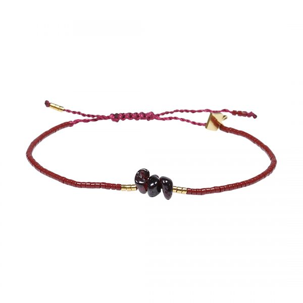 Miyuki fijne armband en rood Granaat Presents and Pearls Pull