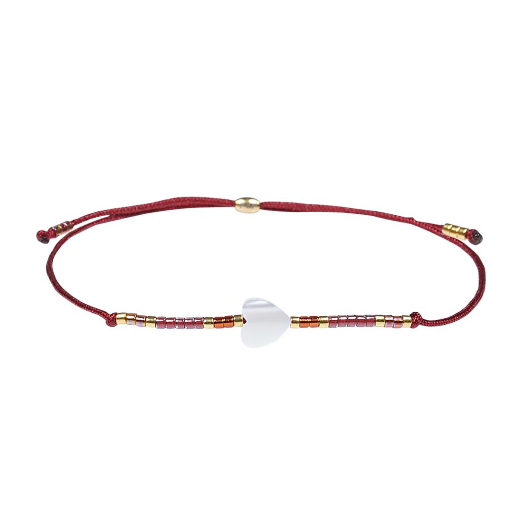 Miyuki fijne armband rood Hart Presents and Pearls