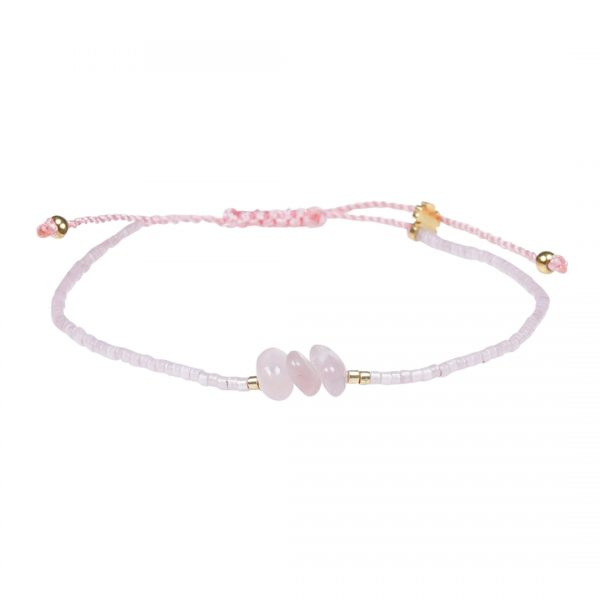 Miyuki fijne armband rose Rozenkwarts Presents and Pearls Pull