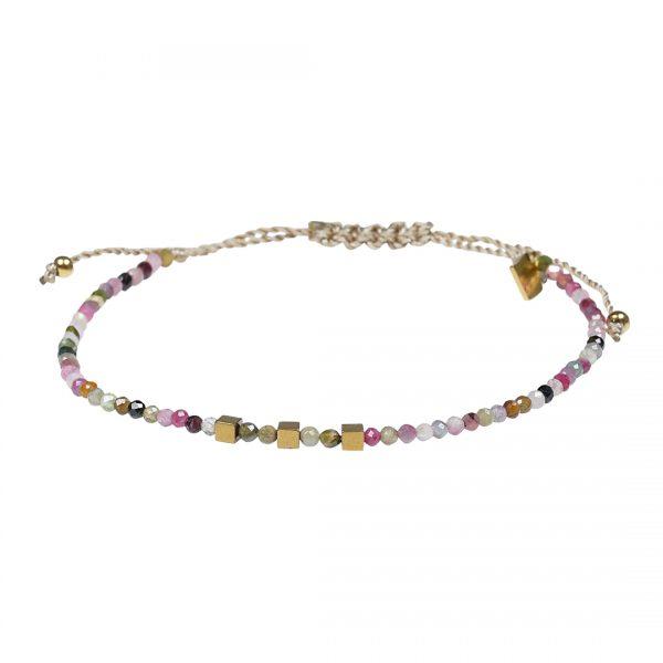 Edelsteen fijne armband roze Toermalijn Pull Presents and Pearls