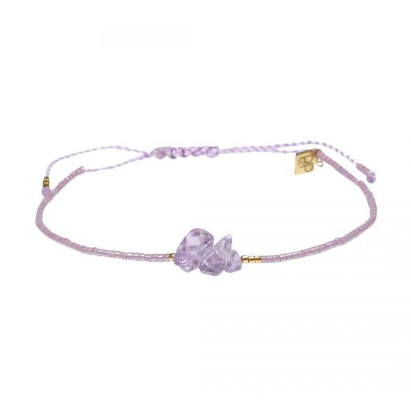 Miyuki fijne armband lila Amethist Presents and Pearls Pull