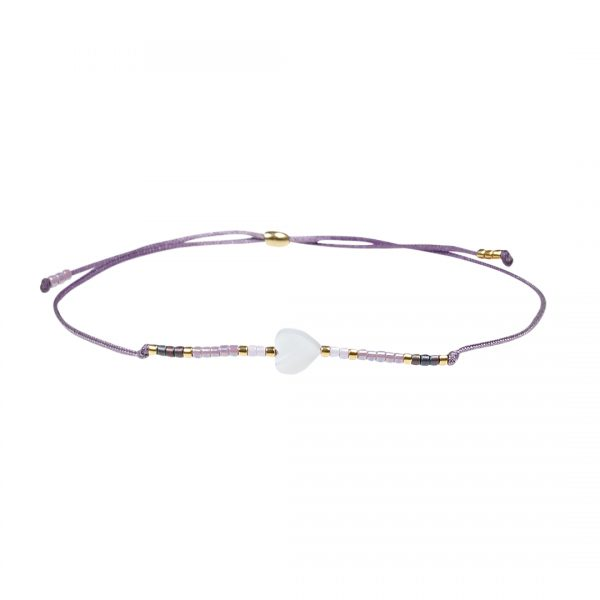 Miyuki fijne armband lila Hart Presents and Pearls